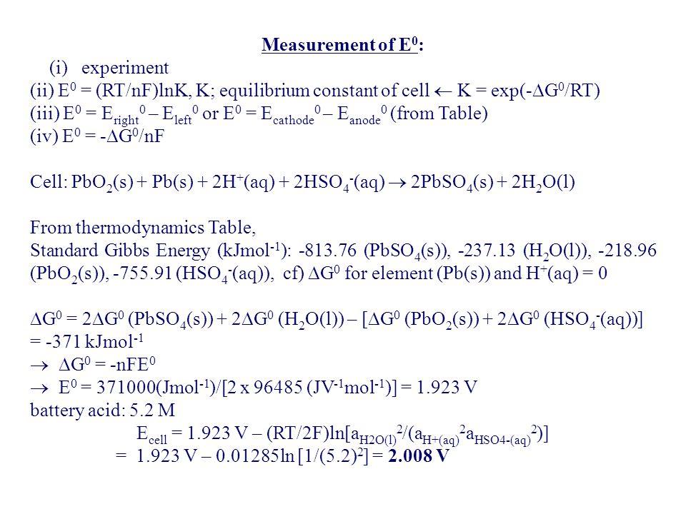 Ecell = 1.923 V – (RT/2F)ln[aH2O(l)2/(aH+(aq)2aHSO4-(aq)2)]